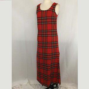 Agile Vintage Red Plaid Wool Jumper Maxi Dress 10